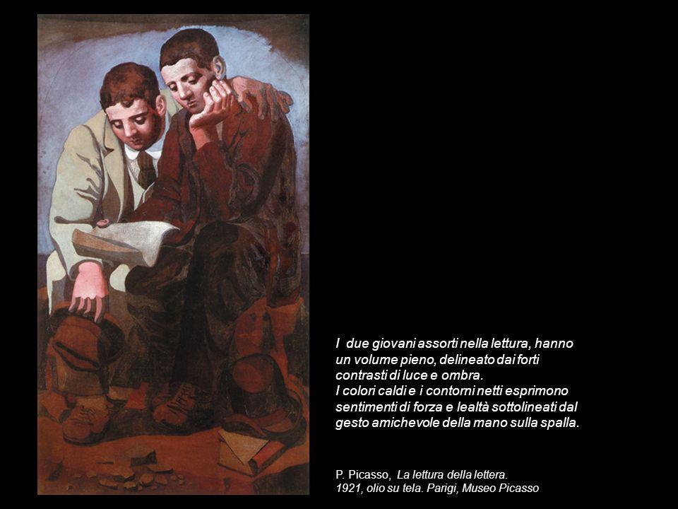 I due giovani assorti nella lettura, hanno un volume pieno, delineato dai forti contrasti di luce e ombra.