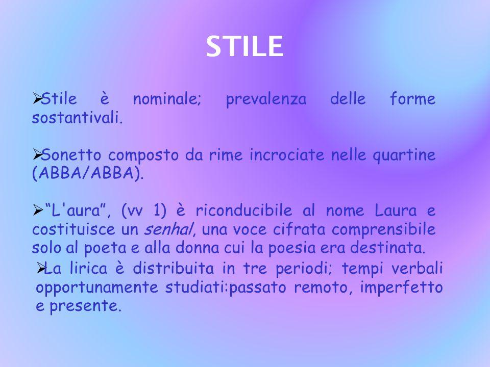 STILE Stile è nominale; prevalenza delle forme sostantivali.