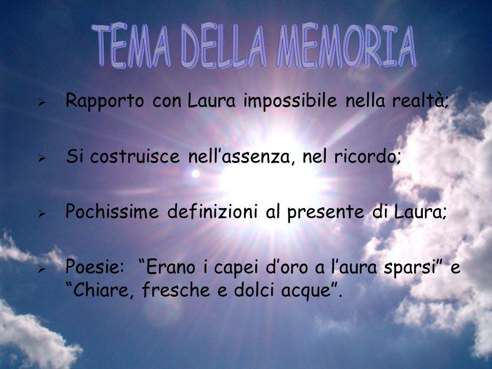 TEMA DELLA MEMORIA Rapporto con Laura impossibile nella realtà;