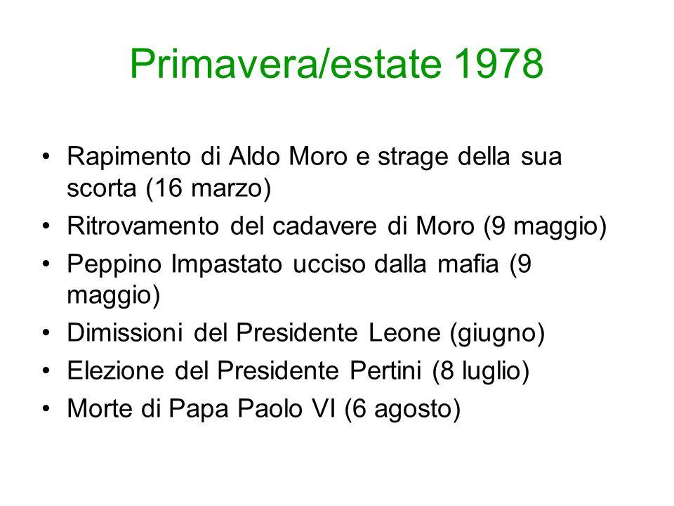 Primavera/estate 1978 Rapimento di Aldo Moro e strage della sua scorta (16 marzo) Ritrovamento del cadavere di Moro (9 maggio)