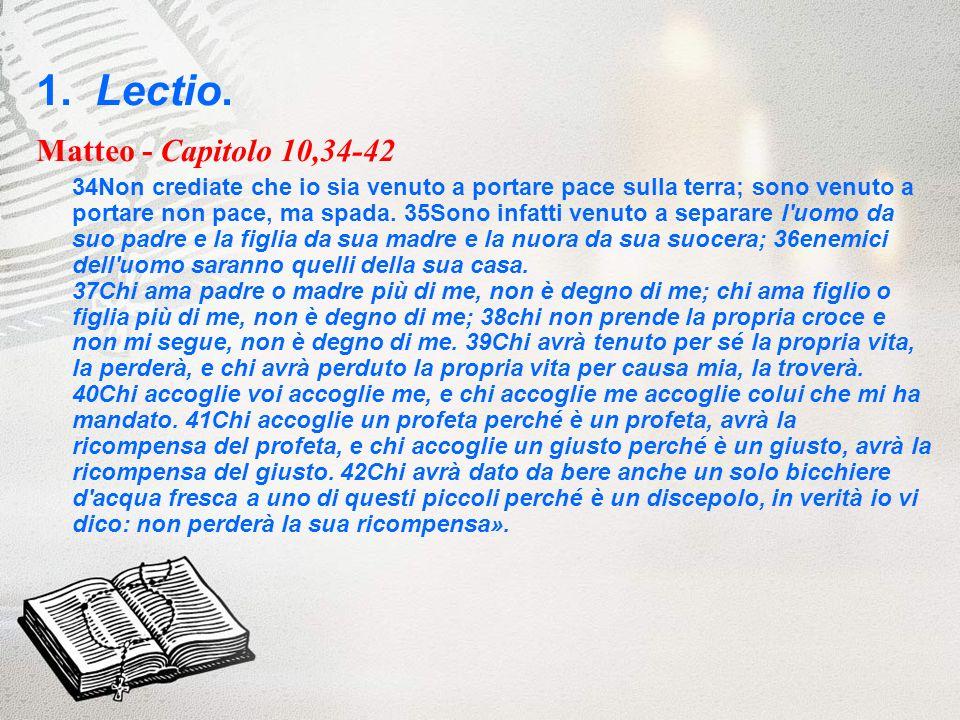 1. Lectio. Matteo - Capitolo 10,34-42