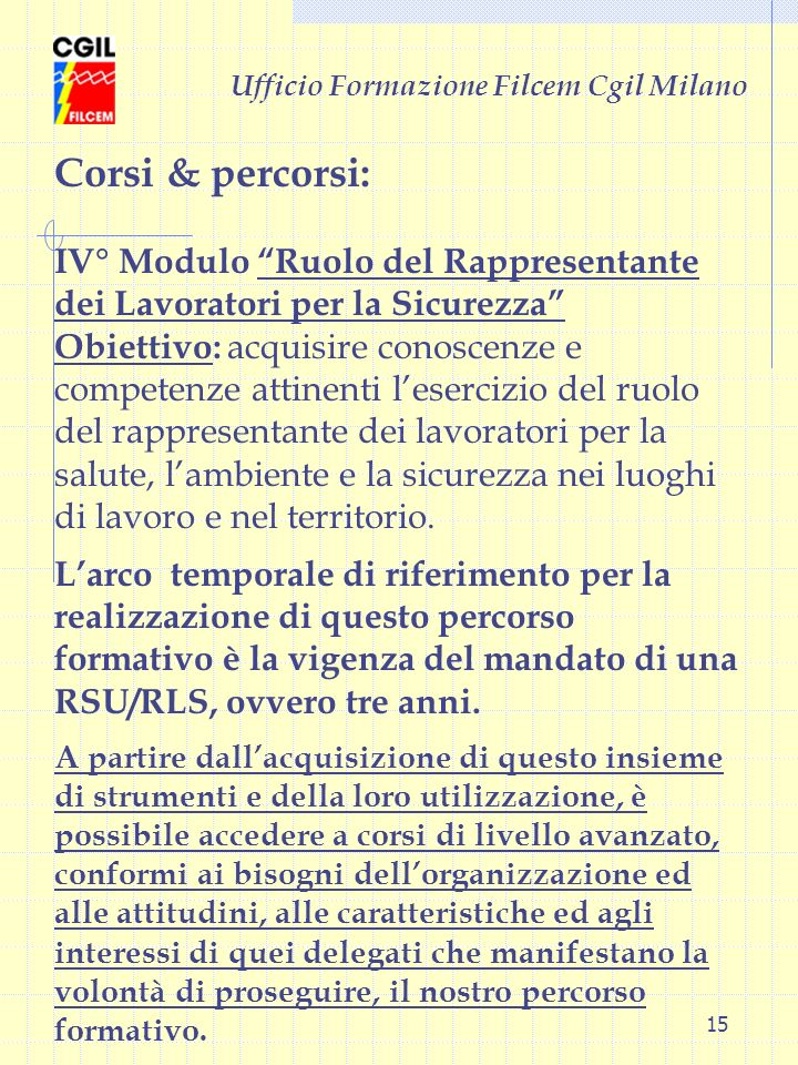Ufficio Formazione Filcem Cgil Milano