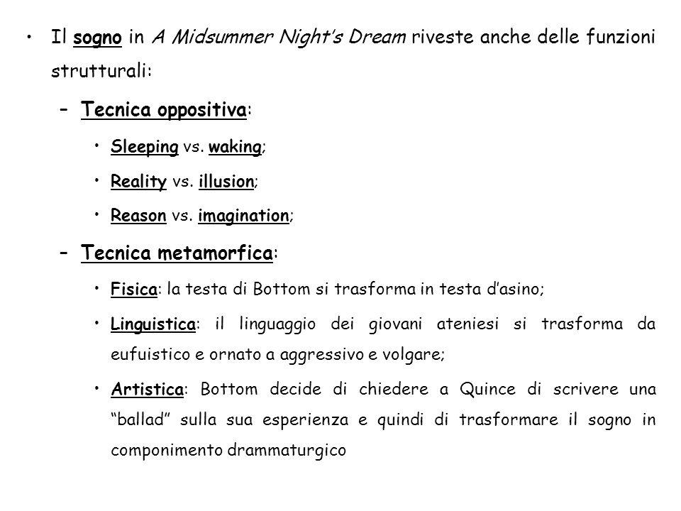 Il sogno in A Midsummer Night's Dream riveste anche delle funzioni strutturali: