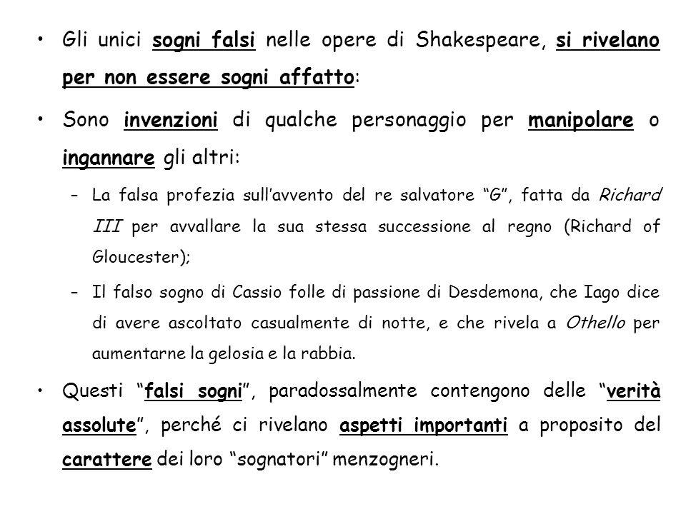 Gli unici sogni falsi nelle opere di Shakespeare, si rivelano per non essere sogni affatto: