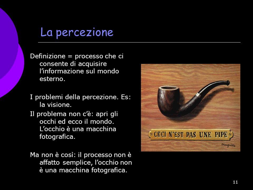 La percezione Definizione = processo che ci consente di acquisire l'informazione sul mondo esterno.