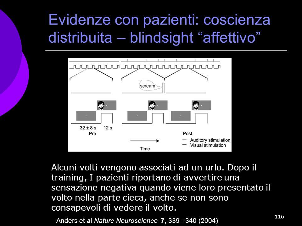 Evidenze con pazienti: coscienza distribuita – blindsight affettivo