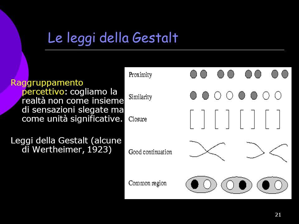 Le leggi della Gestalt Raggruppamento percettivo: cogliamo la realtà non come insieme di sensazioni slegate ma come unità significative.