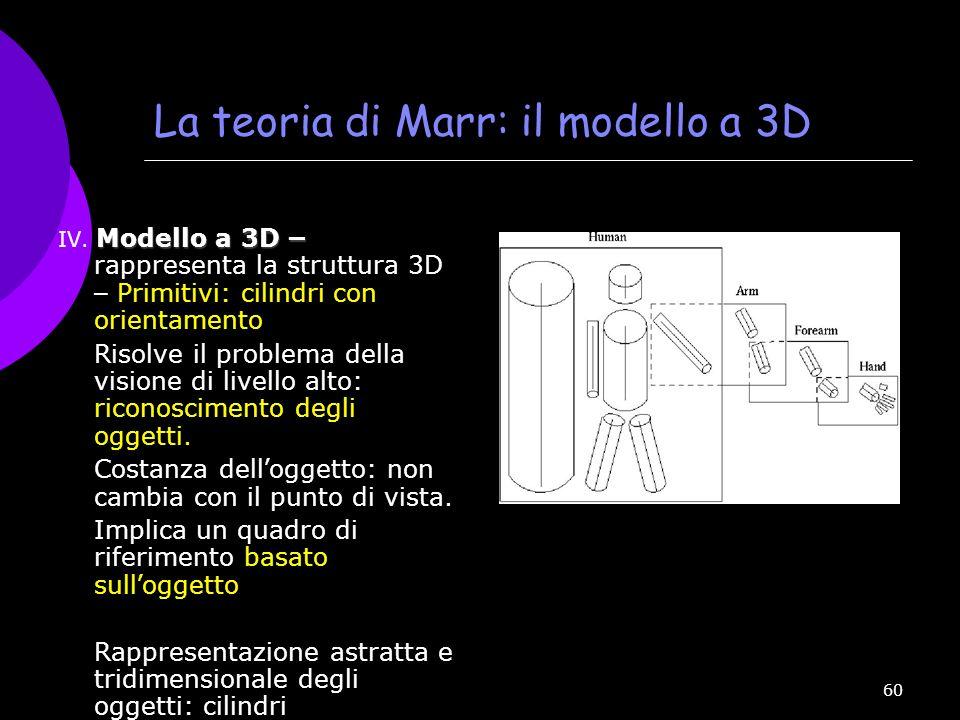 La teoria di Marr: il modello a 3D