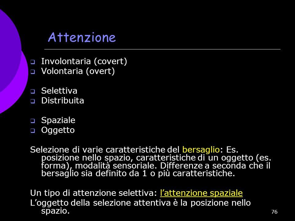 Attenzione Involontaria (covert) Volontaria (overt) Selettiva