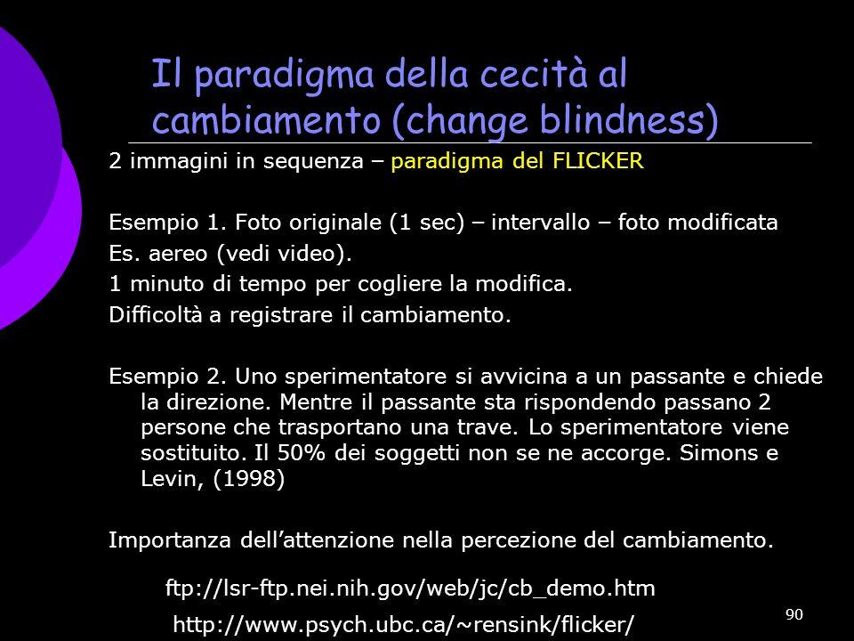 Il paradigma della cecità al cambiamento (change blindness)