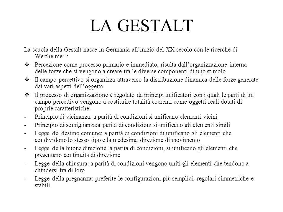 LA GESTALT La scuola della Gestalt nasce in Germania all'inizio del XX secolo con le ricerche di Wertheimer :