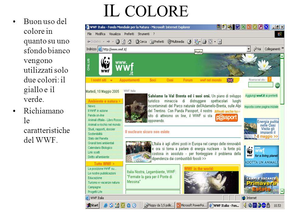 IL COLORE Buon uso del colore in quanto su uno sfondo bianco vengono utilizzati solo due colori: il giallo e il verde.