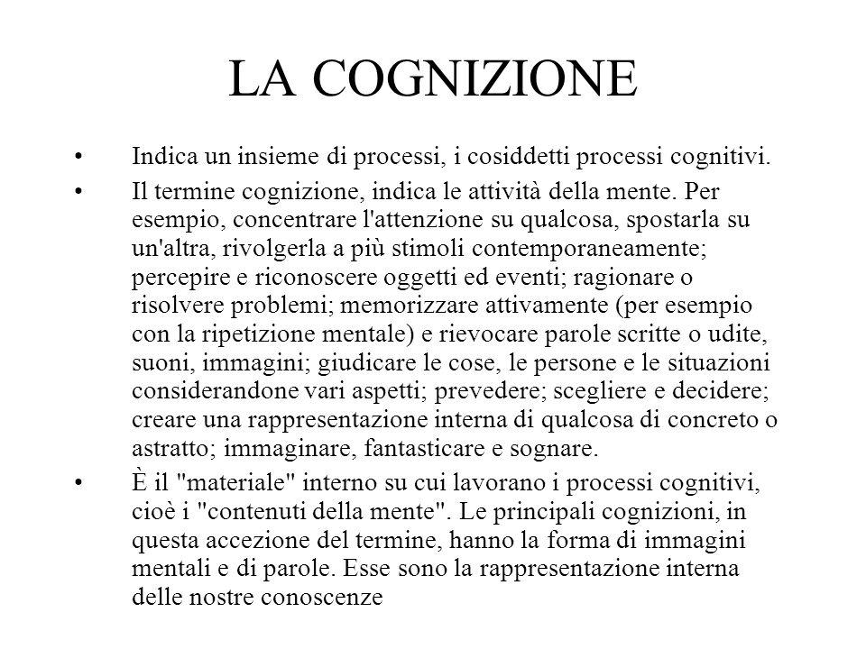 LA COGNIZIONE Indica un insieme di processi, i cosiddetti processi cognitivi.