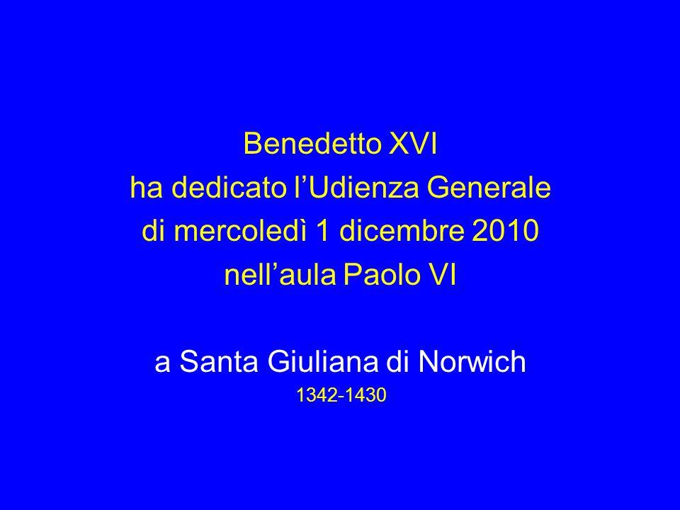 ha dedicato l'Udienza Generale di mercoledì 1 dicembre 2010