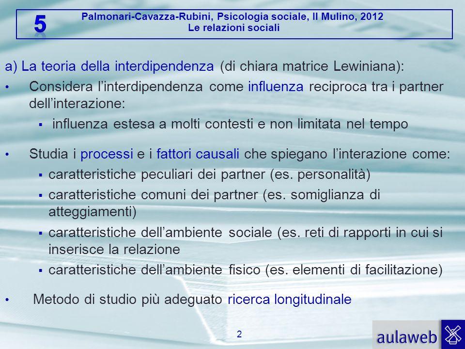 a) La teoria della interdipendenza (di chiara matrice Lewiniana):