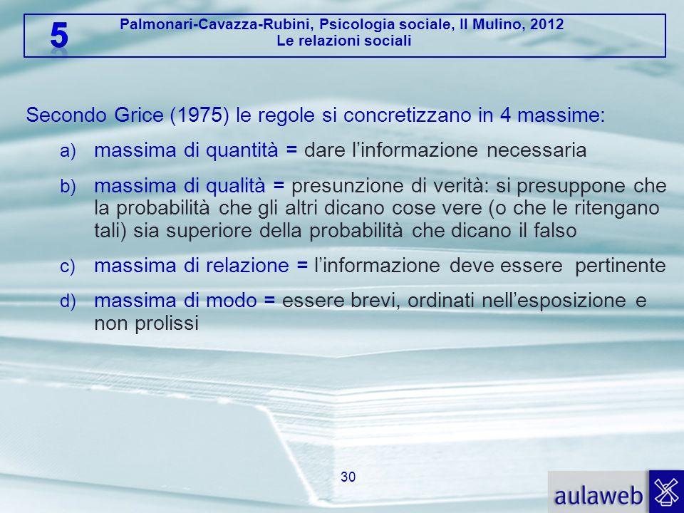 Secondo Grice (1975) le regole si concretizzano in 4 massime: