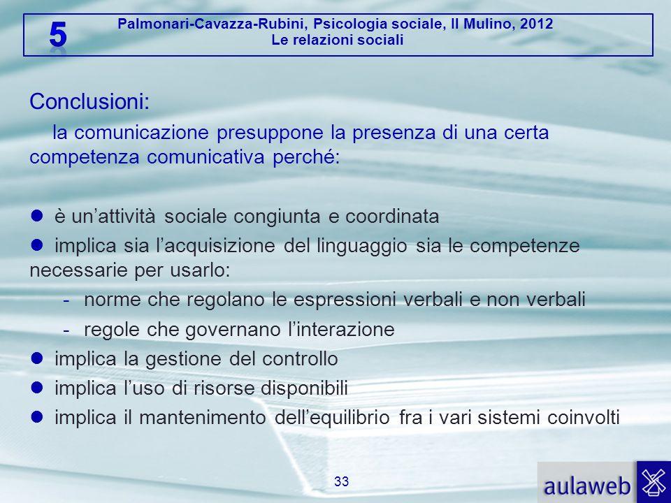 Conclusioni: la comunicazione presuppone la presenza di una certa competenza comunicativa perché: è un'attività sociale congiunta e coordinata.