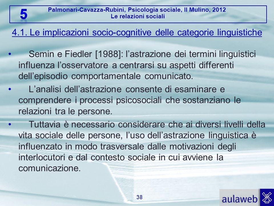 4.1. Le implicazioni socio-cognitive delle categorie linguistiche