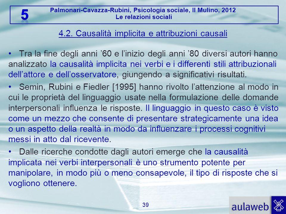 4.2. Causalità implicita e attribuzioni causali