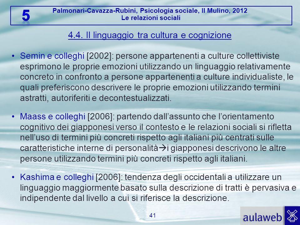 4.4. Il linguaggio tra cultura e cognizione