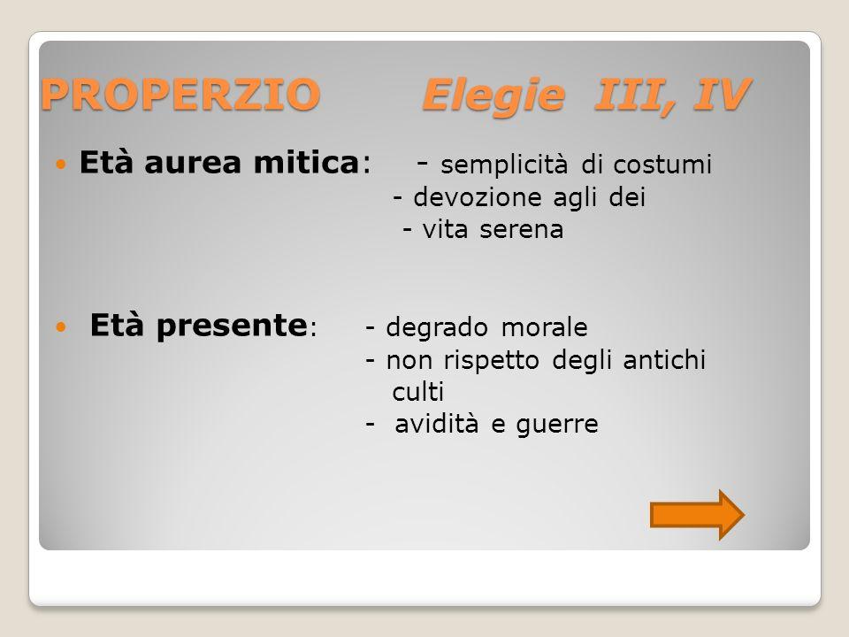 PROPERZIO Elegie III, IV
