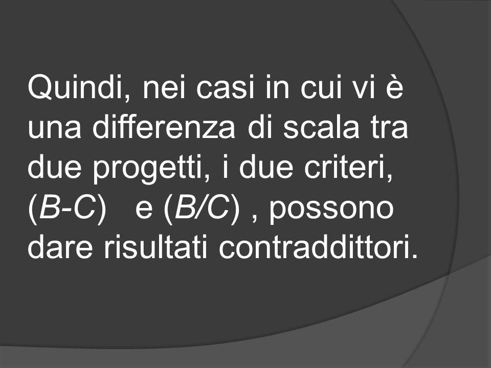 Quindi, nei casi in cui vi è una differenza di scala tra due progetti, i due criteri, (B-C) e (B/C) , possono dare risultati contraddittori.
