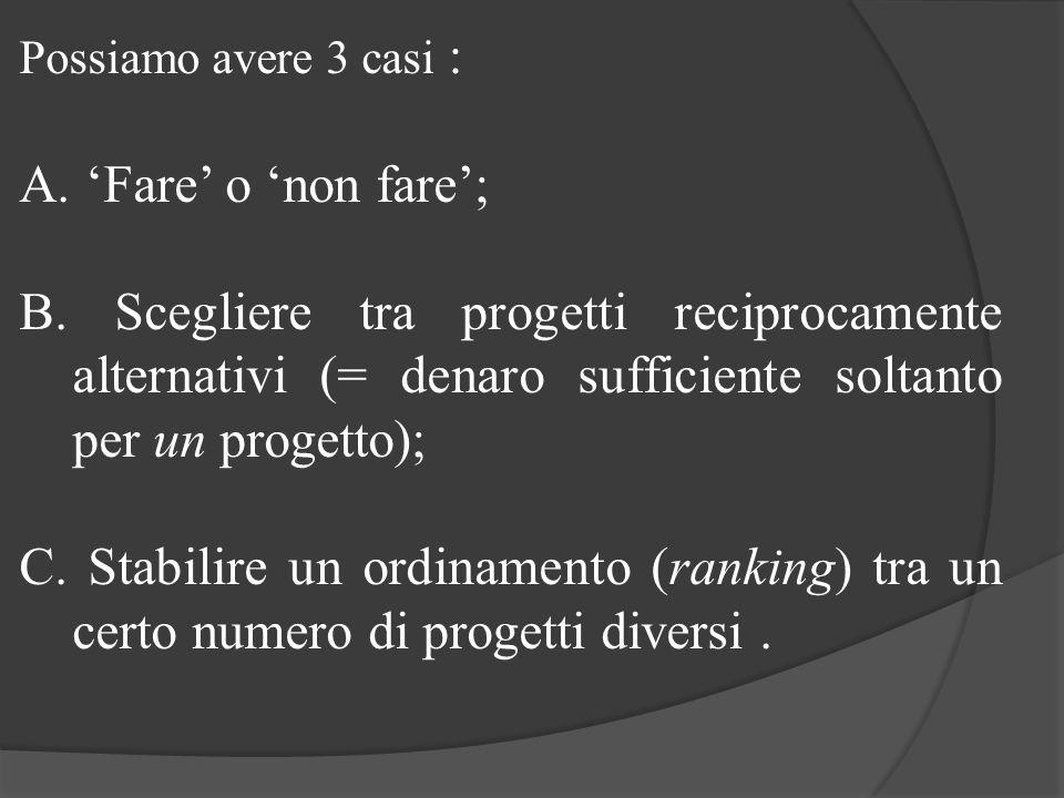 Possiamo avere 3 casi : 'Fare' o 'non fare'; B. Scegliere tra progetti reciprocamente alternativi (= denaro sufficiente soltanto per un progetto);