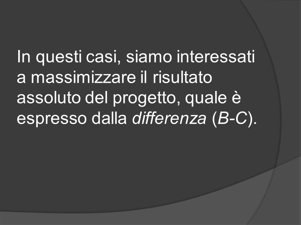 In questi casi, siamo interessati a massimizzare il risultato assoluto del progetto, quale è espresso dalla differenza (B-C).