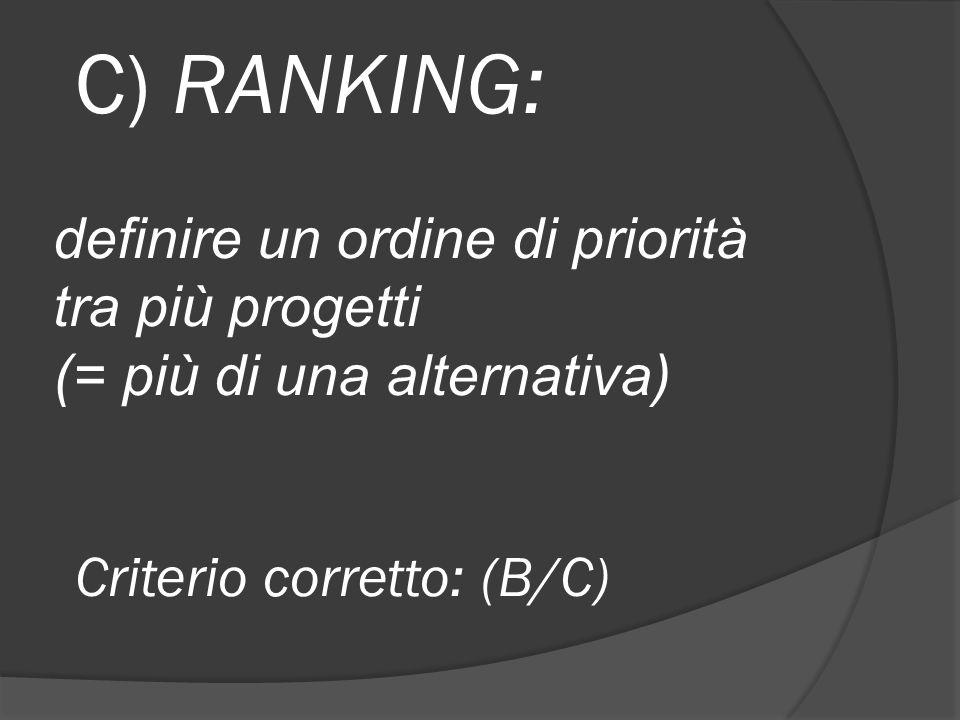 C) RANKING: definire un ordine di priorità tra più progetti (= più di una alternativa) Criterio corretto: (B/C)