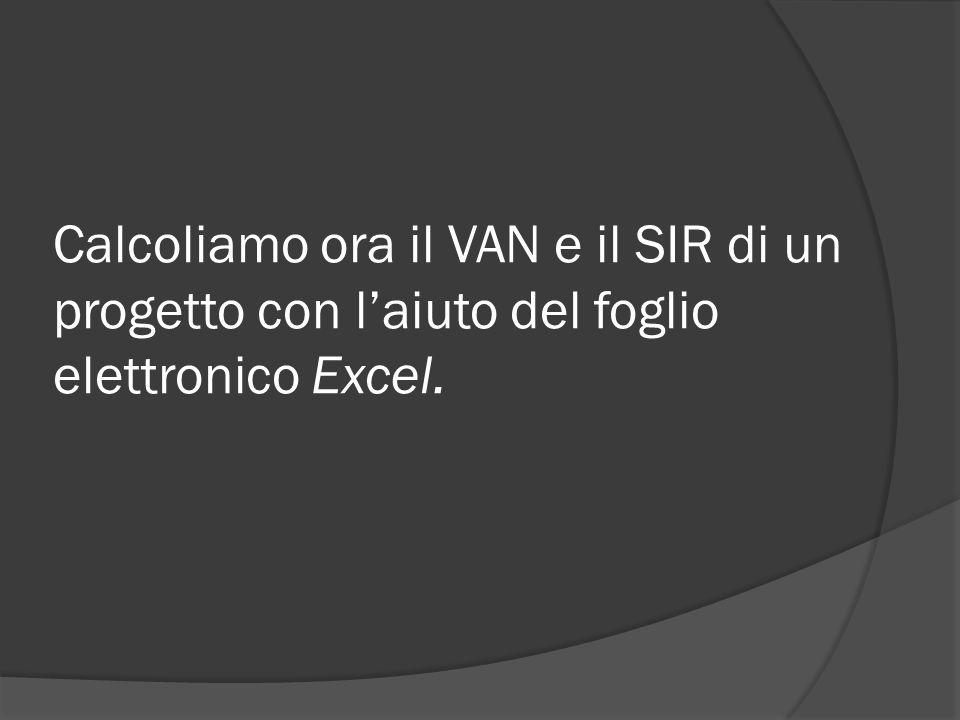Calcoliamo ora il VAN e il SIR di un progetto con l'aiuto del foglio elettronico Excel.