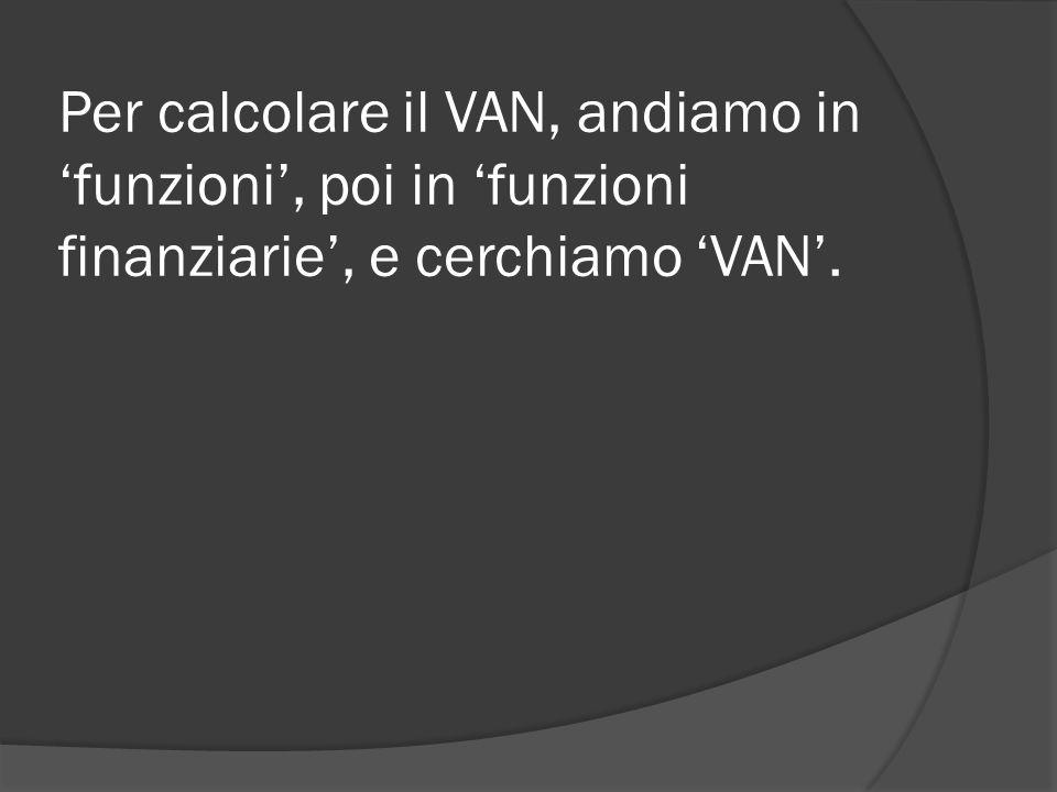 Per calcolare il VAN, andiamo in 'funzioni', poi in 'funzioni finanziarie', e cerchiamo 'VAN'.