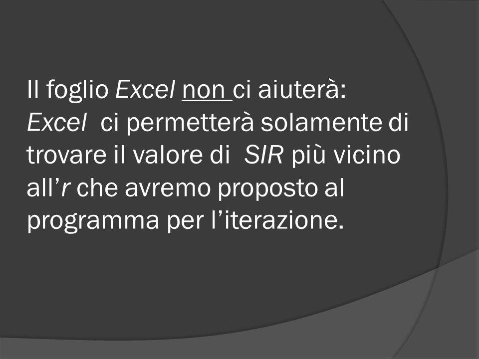 Il foglio Excel non ci aiuterà: Excel ci permetterà solamente di trovare il valore di SIR più vicino all'r che avremo proposto al programma per l'iterazione.