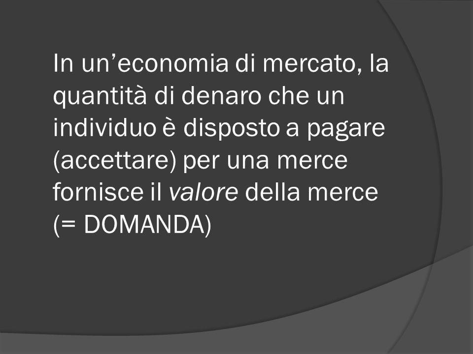In un'economia di mercato, la quantità di denaro che un individuo è disposto a pagare (accettare) per una merce fornisce il valore della merce (= DOMANDA)