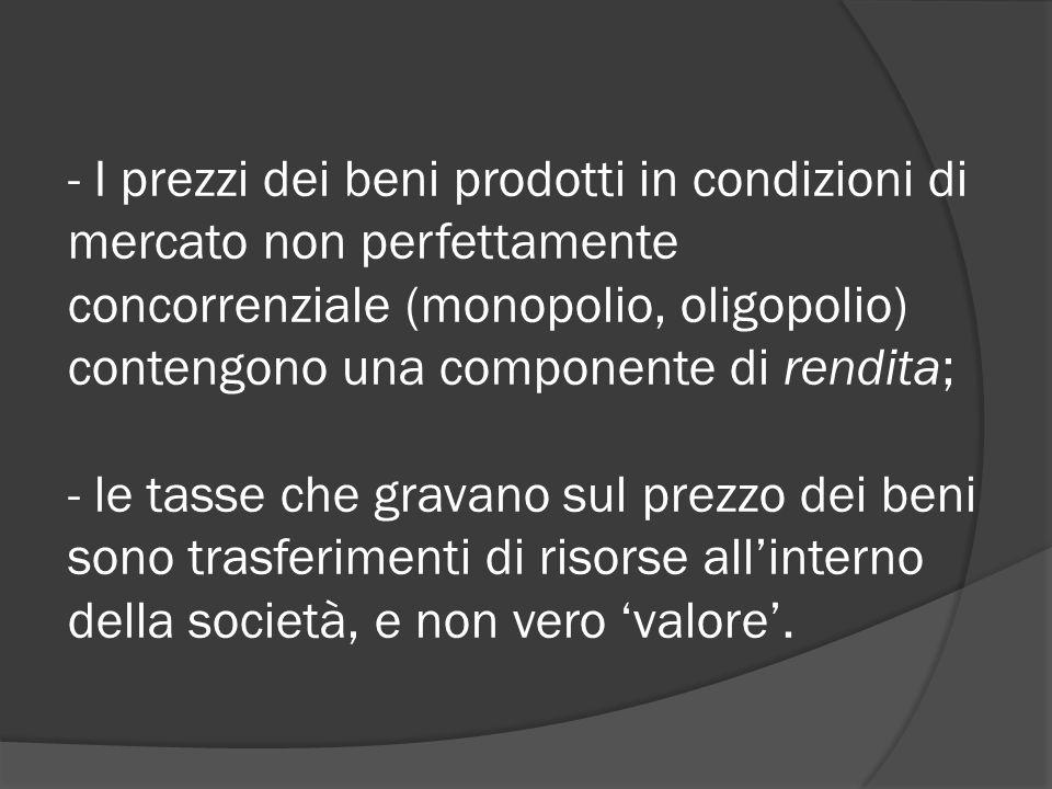- I prezzi dei beni prodotti in condizioni di mercato non perfettamente concorrenziale (monopolio, oligopolio) contengono una componente di rendita; - le tasse che gravano sul prezzo dei beni sono trasferimenti di risorse all'interno della società, e non vero 'valore'.