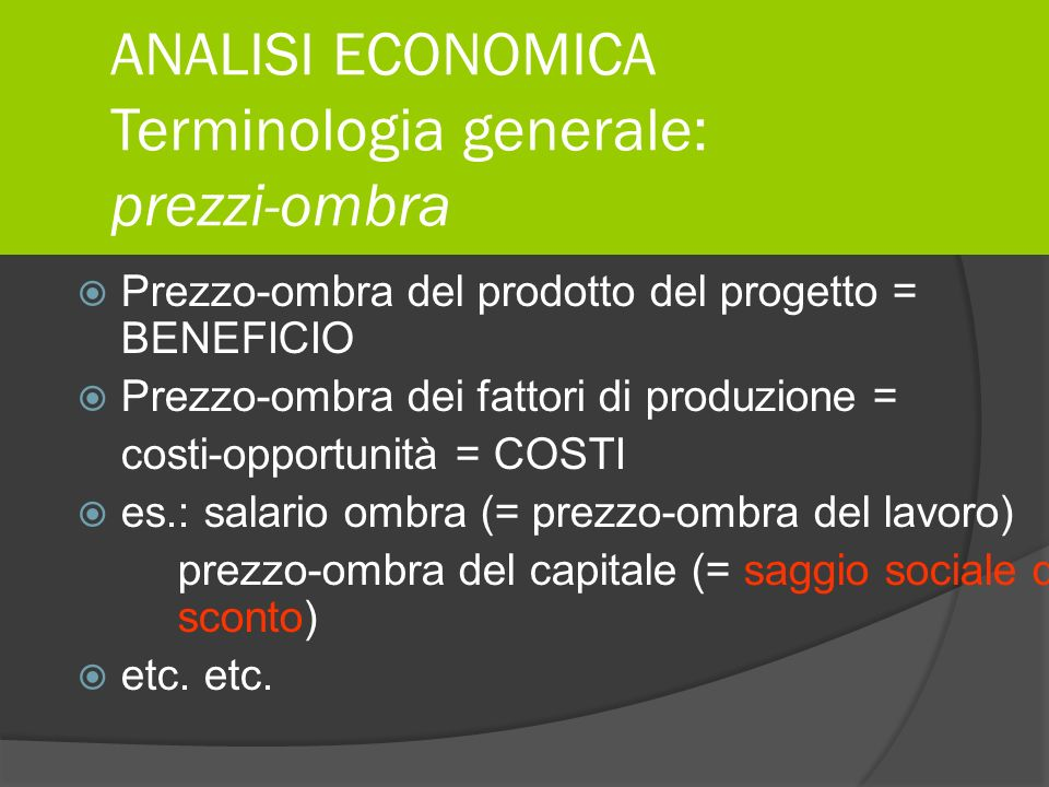 ANALISI ECONOMICA Terminologia generale: prezzi-ombra