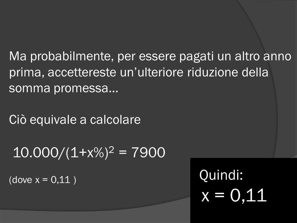 Ma probabilmente, per essere pagati un altro anno prima, accettereste un'ulteriore riduzione della somma promessa… Ciò equivale a calcolare 10.000/(1+x%)2 = 7900 (dove x = 0,11 )