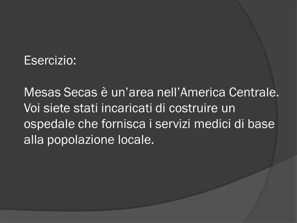 Esercizio: Mesas Secas è un'area nell'America Centrale