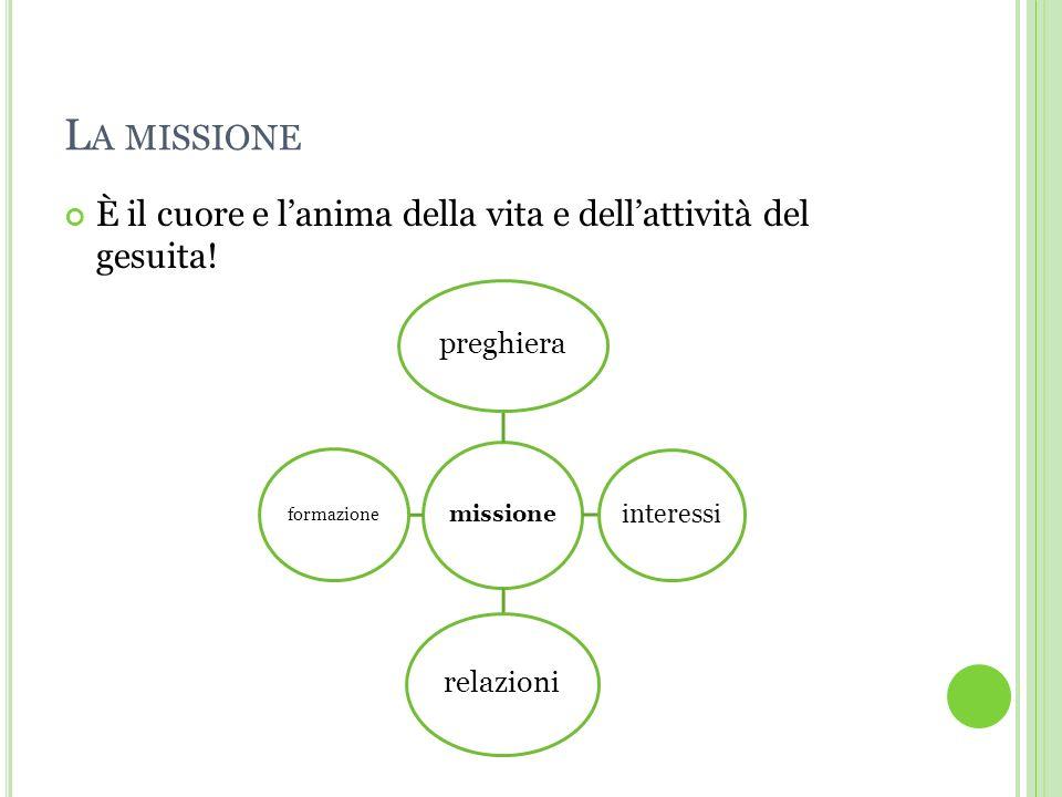 La missione È il cuore e l'anima della vita e dell'attività del gesuita! missione. preghiera. interessi.