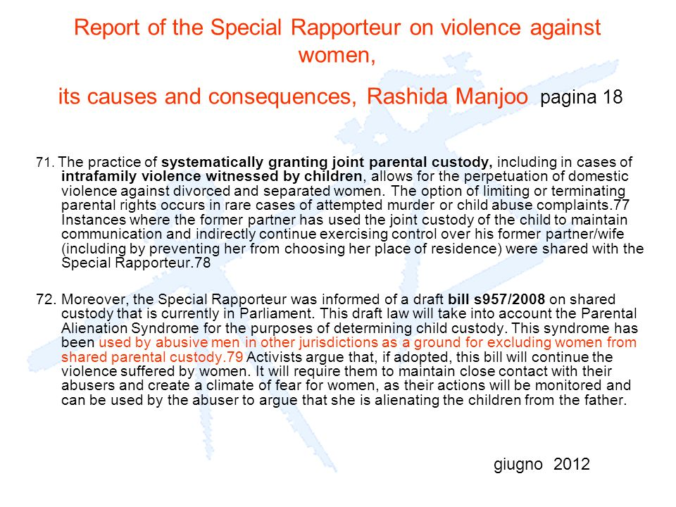Report of the Special Rapporteur on violence against women, its causes and consequences, Rashida Manjoo pagina 18