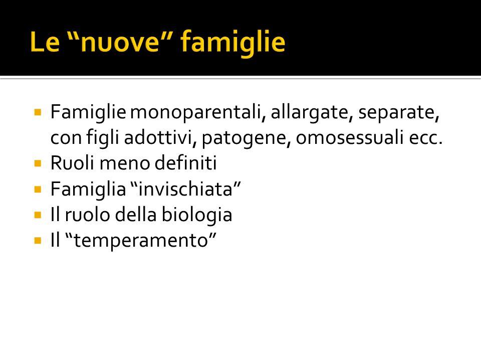 Le nuove famiglie Famiglie monoparentali, allargate, separate, con figli adottivi, patogene, omosessuali ecc.