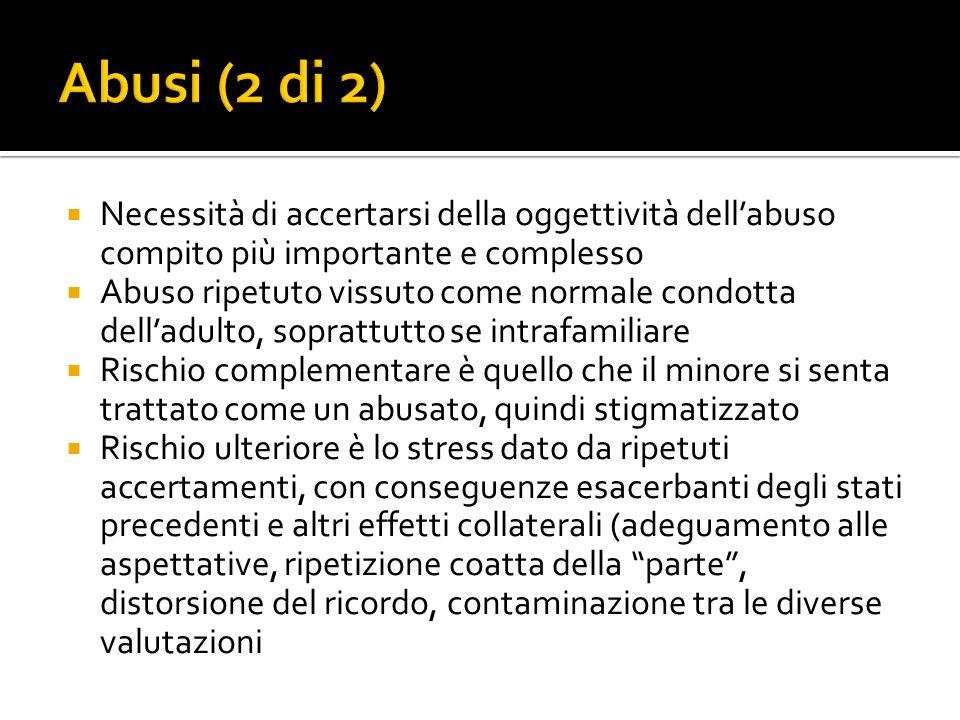 Abusi (2 di 2) Necessità di accertarsi della oggettività dell'abuso compito più importante e complesso.