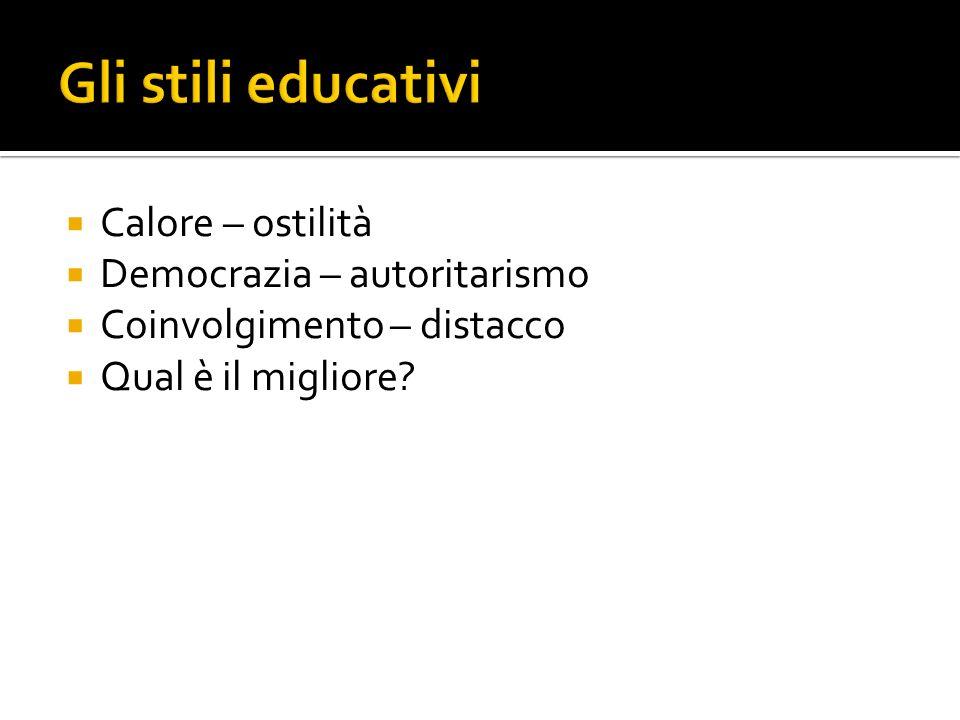 Gli stili educativi Calore – ostilità Democrazia – autoritarismo