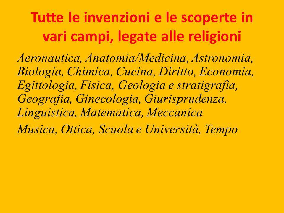 Tutte le invenzioni e le scoperte in vari campi, legate alle religioni