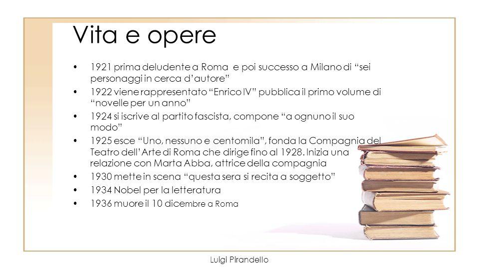 Vita e opere 1921 prima deludente a Roma e poi successo a Milano di sei personaggi in cerca d'autore