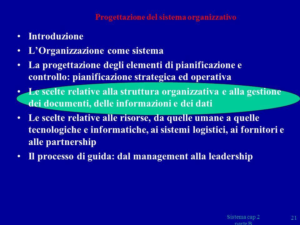 Progettazione del sistema organizzativo