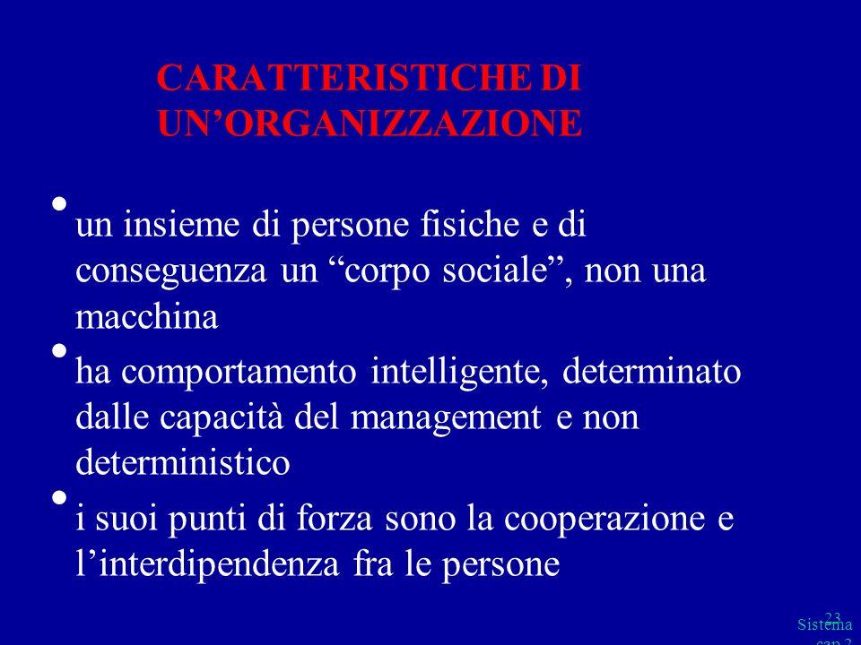 CARATTERISTICHE DI UN'ORGANIZZAZIONE