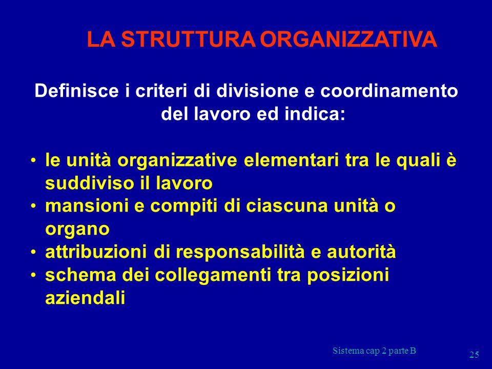 Definisce i criteri di divisione e coordinamento del lavoro ed indica:
