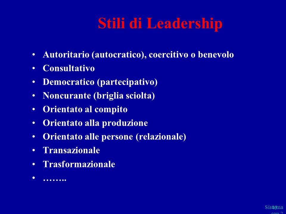 Stili di Leadership Autoritario (autocratico), coercitivo o benevolo