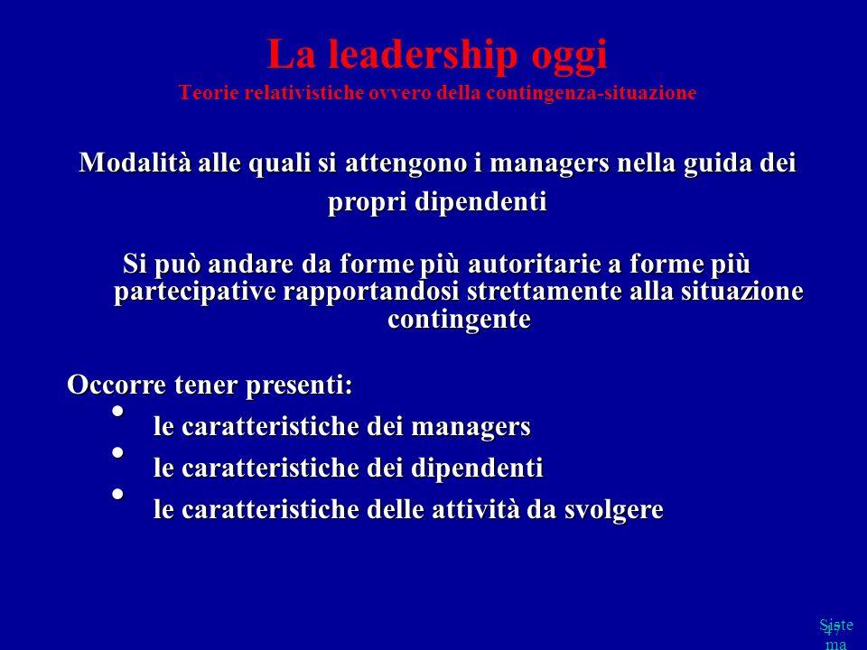 Occorre tener presenti: le caratteristiche dei managers
