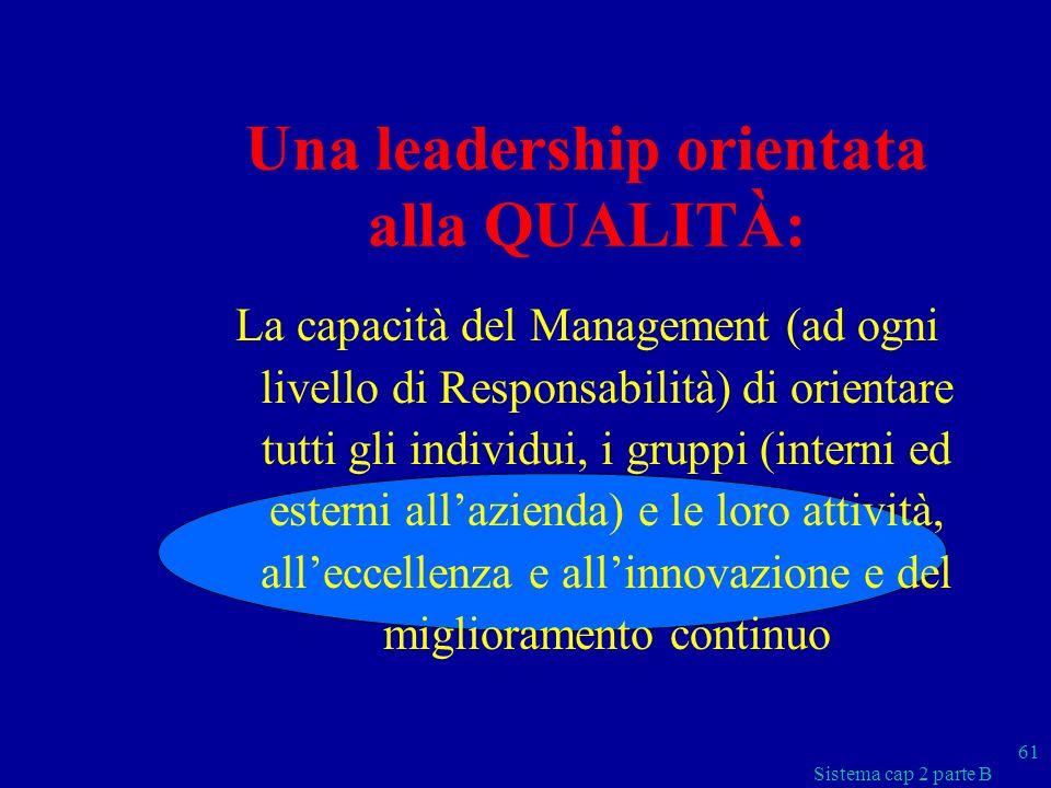 Una leadership orientata alla QUALITÀ: